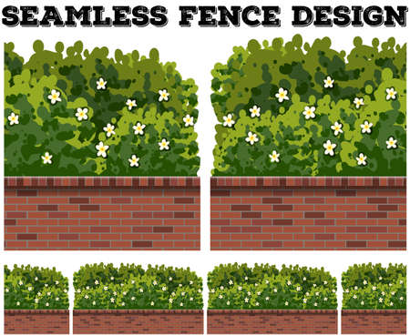 bush: Seamless fence design with bush and flowers illustration Illustration