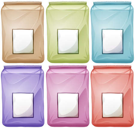 six objects: Bags in different colors illustration