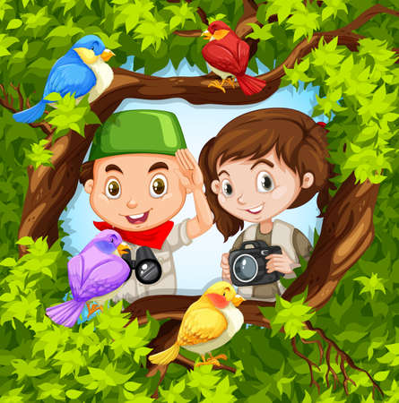 Bird watching with boy and girl illustration Çizim