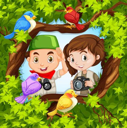 bird watching: Bird watching with boy and girl illustration Illustration