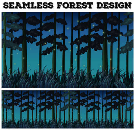 fireflies: Seamless background with forest at night illustration