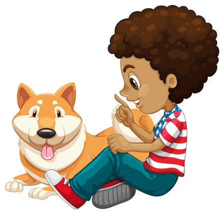 adolescent african american: African american boy and a pet dog illustration Illustration