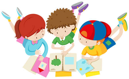 Children in group reading and discussing illustration Illustration