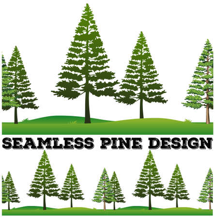 lawn grass: Seamless pine trees on the field illustration Illustration