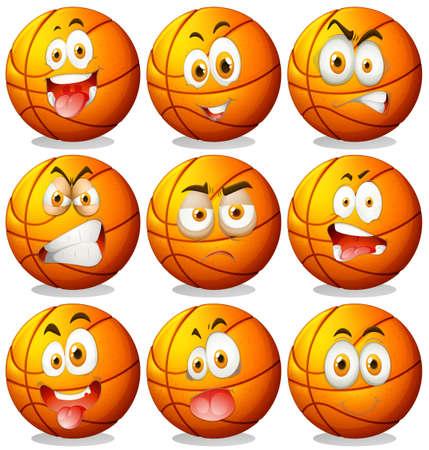 expresiones faciales: Baloncesto con expresiones faciales ilustración
