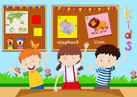 Tres niños que están aprendiendo en la ilustración aula