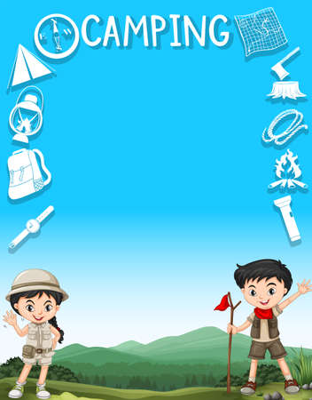 camping: Border design with kids and camping gears illustration Illustration