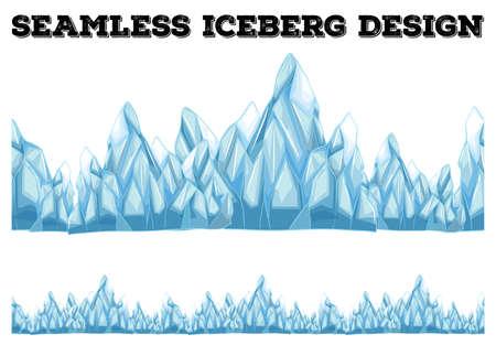 Naadloos ijsberg ontwerp met hoge pieken illustratie Stock Illustratie
