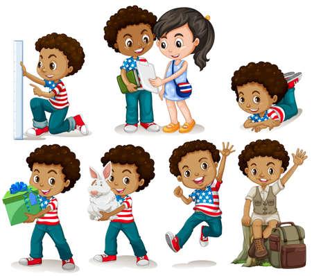 Afro-Amerikaanse jongen het doen van verschillende activiteiten illustratie Stock Illustratie