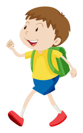 schoolbag: Little boy with schoolbag walking illustration Illustration