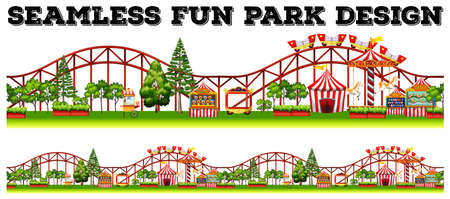 Seamless fun park design with many rides illustration Stock Illustratie