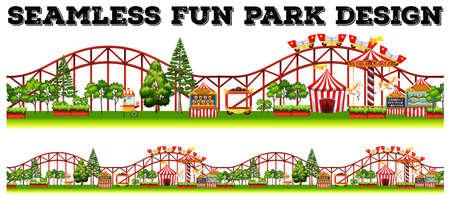 Seamless fun park design with many rides illustration Illustration