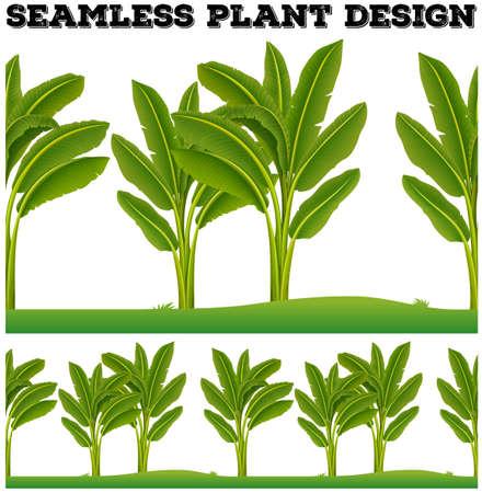 banana leaf: Seamles plants on the ground illustration Illustration
