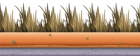 dirtroad: Seamless background with grass along the road illustration