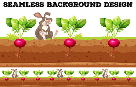 rabbit clipart: Seamless background with radish and rabbit illustration