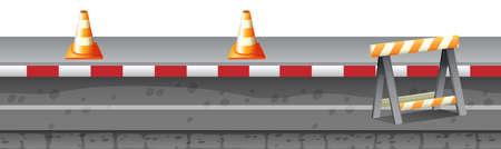 construction equipment: Construction equipment on the road illustration