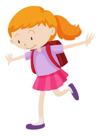 schoolbag: Little girl with backpack on her back illustration