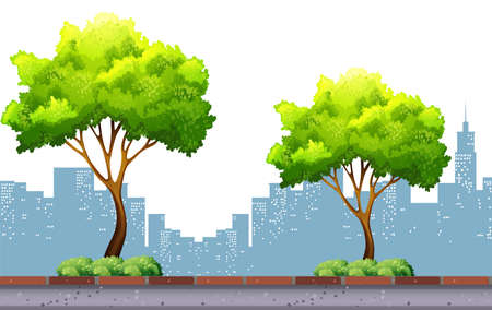 city background: Trees on the pavement with city background illustration