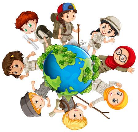 дети: Дети уход за иллюстрации земли Иллюстрация