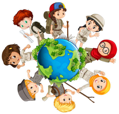 small children: Children caring for the earth illustration