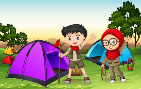 Boy and girl camping out in the field illustration
