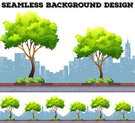 city background: Tree along the sidewalk with city buildings background illustration