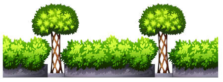 Potted plants: Seamless fence design with bushes illustration