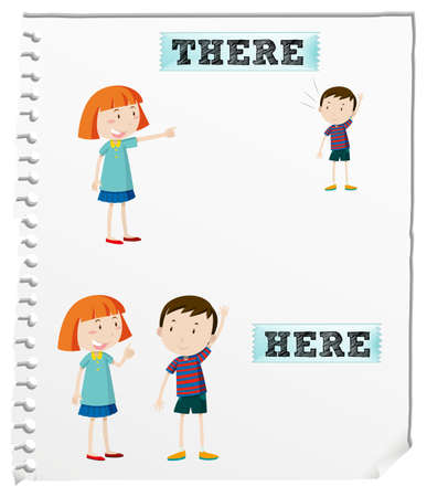 Palabras opuestas aquí y allá ilustración