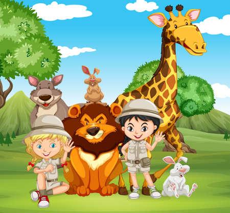 animales del bosque: Los niños y los animales salvajes en el parque de la ilustración