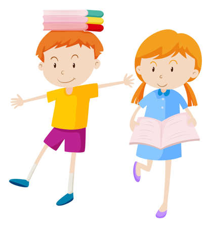 Boy and girl with books illustration