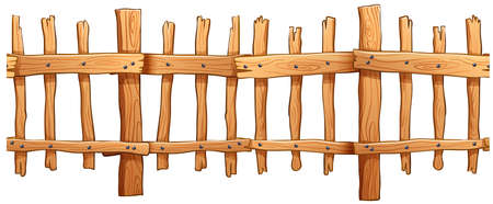 plywood: Seamless classic wooden fence design illustration