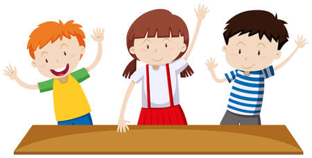 peer: Children having hands up  illustration