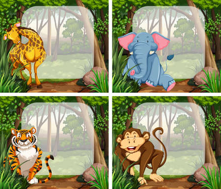 동물: 정글 그림에서 야생 동물과 테두리 디자인 일러스트