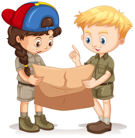 Boy and girl reading map illustration