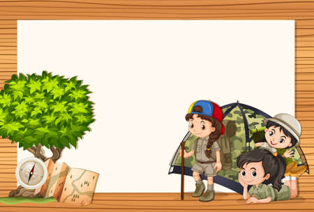 Border design with girls in tent illustration Illustration