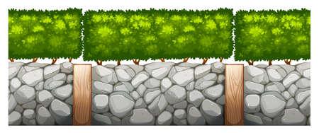 Naadloos ontwerp met bakstenen muur en bush illustratie