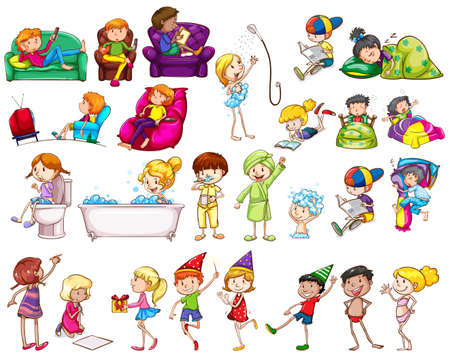 cartoon bathing: People doing different activities illustration