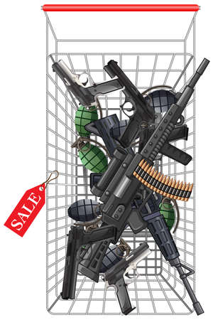 shopping cart: Many kind of weapons in the shopping cart illustration Illustration
