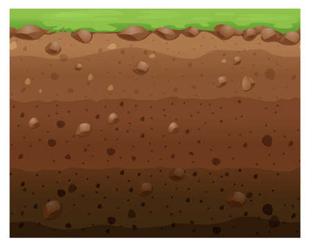 environment geography: Seamless design with grass and underground illustration