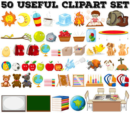 canastas con frutas: Cincuenta tipo de diferentes objetos de la ilustración