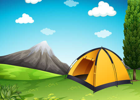 sites: Yellow tent at the campground illustration