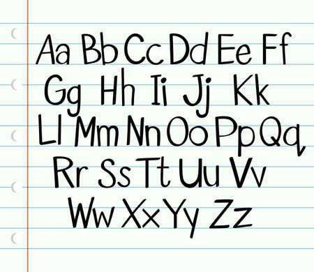 Handschrift Engels alfabet in hoofdletters en kleine letters illustratie