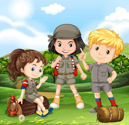 Children camping out in the park illustration Ilustração