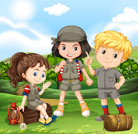 Children camping out in the park illustration Illustration