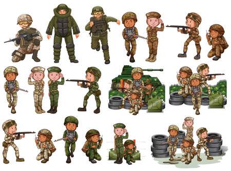 Militairen in verschillende acties illustratie
