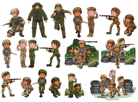 Soldiers in different actions illustration Ilustração