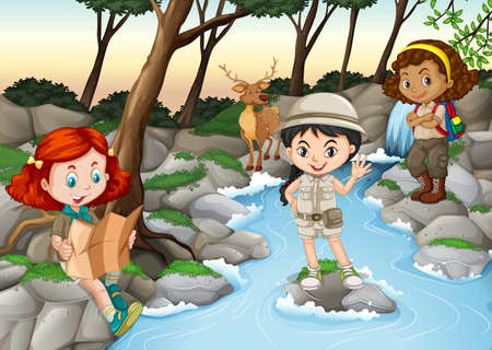 waterfall in forest: Three girls camping out by the river illustration Illustration