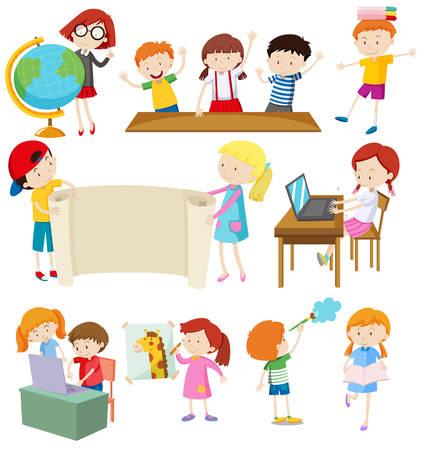 profesor alumno: Niños que hacen diferentes actividades ilustración Vectores