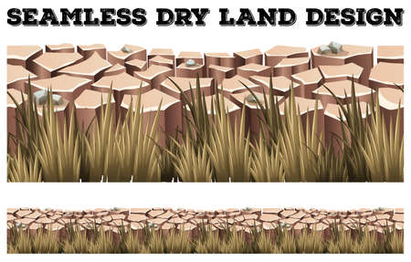 grass land: Seamless dry land with grass illustration