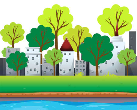 buildings city: City buildings and trees along the river illustration